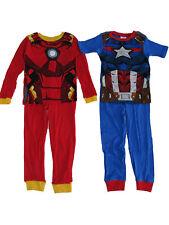 Marvel Little Boys Red Blue Captain America Iron Man Print 2 Pack Pajama Set 6