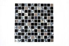 Mosaikmatte Mosaikfliesen Mosaik Quadrat Crystal Edelstahl mix schwarz Glas