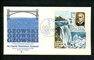 Postal History Poland FDC #B135 Capex Canada International Bridge 1978
