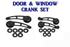Hot Rod, Rat Rod Black Billet Door Handle and Window Crank Set Universal