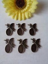 6 Anhänger Schmetterling für Cabochon 10x14mm bronze