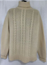 Vtg Alan Paine Ivory White Lambswool Turtleneck Sweater Cable UK Men's 44 Large