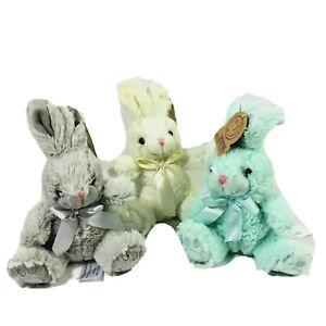 "Animal Adventure Plush Bunny Stuffed Animal Gray Blue White 8"" 3 Pack"