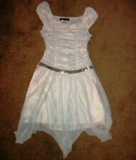 VGUC Disorderly Kids Sparkly Silver White Dress Holiday Party Dress SZ 12
