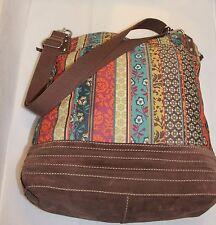FOSSIL Boho 'Vintage'  Crossbody Tote Canvas  Leather Suede Handbag Large EXC