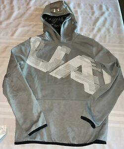 Under Armour Boys YXL Youth Xlarge Coldgear Gray & White Hooded Loose Sweatshirt