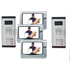 kit videocitofono per condominio trifamiliare doppio ingresso 3 monitor 4 fili