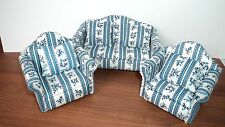Dolls House Furniture : Blue & White Patterned Sofa & Two Armchairs : 12th scale