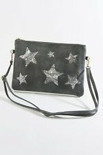 Sparkly Glitter silver Star Grey clutch Bag with Long Cross Body Strap