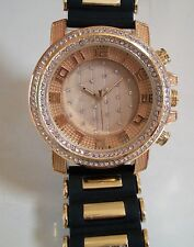 Men's Iced Out Gold Finish Hip Hop Bling Dressy/Casual Rubber Silicon Band Watch