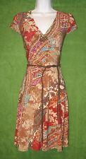 LRL Ralph Lauren Brown Bohemian Print Jersey Wrap Belt Social Dress S $159