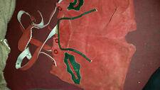 TRUE VINTAGE SOFT LEATHER/ SUEDE EDELWEISS LEDERHOSEN SHORTS RED 24 W
