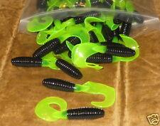 "100 Count Bulk Bag 3"" Fat Grub Bass Plastic Worm Black Chartreuse Tail Trailer"