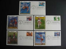 USA Sc 2496-500 Olympians 5 Colorano silk FDC first day covers, nice group!