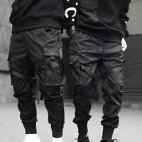 Men Street Tactical Cargo Pants Harajuku Joggers Harem Pants Hip Hop Black UK