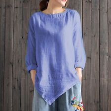 Women Vintage Cotton Linen Long Sleeve Baggy Shirt Casual Loose Blouse Tee Tops