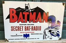 VINTAGE PORCELAIN 1960s BATMAN SECRET BAT-RADIO TOY STORE SIGN