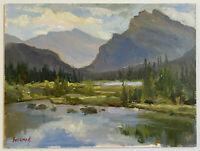 Oil Painting Original (Vancouver B.C. Mountain Range) canvas board size 9x12 Sin