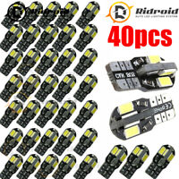 40PCS 501 T10 W5W Bright White 5730 SMD 8_LED 6000K WHITE SIDE LIGHT BULBS