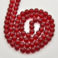 RED 6mm FROSTED GLASS BEADS - 1 strand approx 140pcs - jewellery making beading