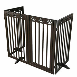 """Dog Gate Pet Fence Baby Safety Playpen Folding Wood Barrier Free Standing 24""""36"""""""
