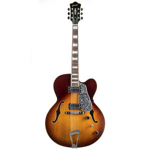 GROTE Jazz Electric Guitar Cutaway Semi-Hollow Body Top and back VS Color