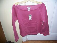 Fairweather Fleece Top Size M Rose Pink Slouch Shoulder Cotton Blend Long Sleeve