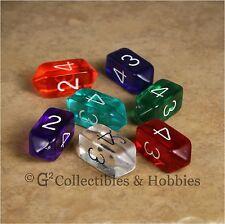 NEW Set of 7 Crystal Caste D4 Transparent Dice - Seven Colors D&D RPG Game Die