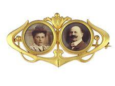 Jugendstil para 1900 oro Double foto broche una pareja casada!