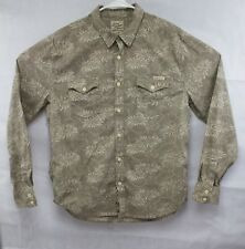 Men's Lucky Brand Floral Hawaiian Style Casual Shirt Large Brown Long Sleeve EUC