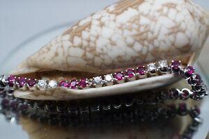 Prunkvolle Armkette,Armband,18 Kt WG,3,12ct nat. Rubine,1,70ct Brillanten,750er