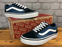 VANS UK 2.5 EUR 34.5 OLD SKOOL NAVY WHITE TRAINERS CHILDRENS BOYS GIRLS LG