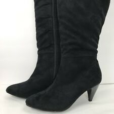 Comfortview  Black Faux Suede Leather High Boots Sz 9 W Zip Side