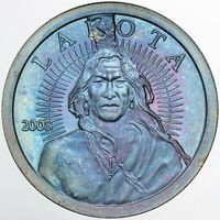 2008 LAKOTA SILVER ROUND MEDAL PROOF GEM FLAWLESS BU TONED COLOR UNC (DR)