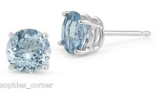 1 Ct Aquamarine Round Basket Set Stud Earrings Solid Sterling Silver