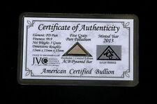 ACB Palladium Pyramid COA Included 99.9 Pure 5Grains Bullion PD Bar Rare. <