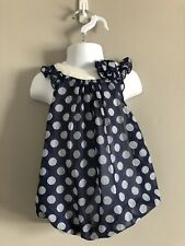 """""""First impressions"""" Girl Pillow Dress 12month with polka dots blue and white"""