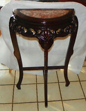 Mahogany Marble Top Entry Table / Parlor Table  (T415)