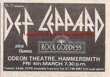 DEF LEPPARD Rock Goddess UK TIMELINE Advert  Ham Odeon Fri-4-Mar-1983 2x3 inches