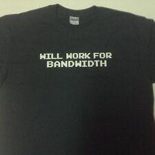 Gildan TShirt Black WILL WORK FOR BANDWIDTH Sz Adult M NNT