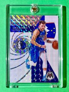 Luka Doncic SILVER PRIZM MOSAIC REFRACTOR INTERNATIONAL MEN OF MASTERY - Mint!