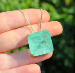 STUNNING NATURAL COLOMBIAN EMERALD NECKLACE PENDANT, 18K YELLOW GOLD VERMEIL