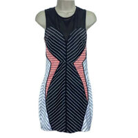 Alt B Womens Sheath Dress Black Pink White Stripe Stretch Mini Sleeveless M New