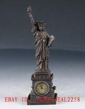 Old Chinese Brass Hand Made Statue of Liberty Mechanical Globe Clock Zj29