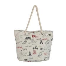 Premium Large Paris City Eiffel Tower Print Canvas Tote Shoulder Bag Handbag