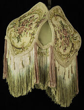 BRIDGE VICTORIAN LAMPSHADE SAGE & PINK  TAPESTRY fabric with sage silk & fringe