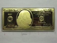 1 OZ $100 FRANKLIN 2007 FEDERAL RESERVE CURRENCY 999 SILVER GOLD MONEY BAR RARE
