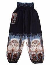 Harem Pants, Baggy OneSize Bali Black Elephant, Unisex, Hippie Yoga, Boho