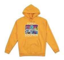 NEW PINK DOLPHIN HOLIDAY PORTRAIT HOODIE Sz SMALL S YELLOW