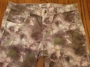 Justice Premium Jeans Girls Size 14 1/2 Simply Low Jegging Pink Camo Print